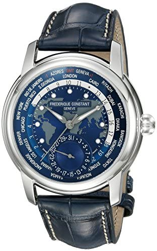 51gr75+QKpL. AC  - Frederique Constant Men's Worldtimer Manufacture Stainless Steel Automatic-self-Wind Watch with Leather-Alligator Strap, Blue, 22 (Model: FC-718NWM4H6)