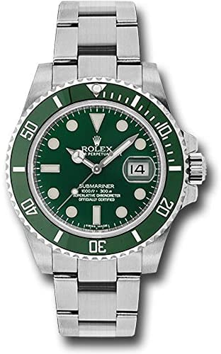 51guknAYPRL. AC  - Rolex Oyster Perpetual 40MM Stainless Steel Submariner Date Rotatable Green Cerachrom Bezel and a Green Index Dial.