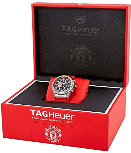51iWx70Gb5L. AC  - Tag Heuer Carrera Manchester United Special Edition Chronograph Automatic Black Gold Plated Dial Mens Watch CAR201M.FT6156