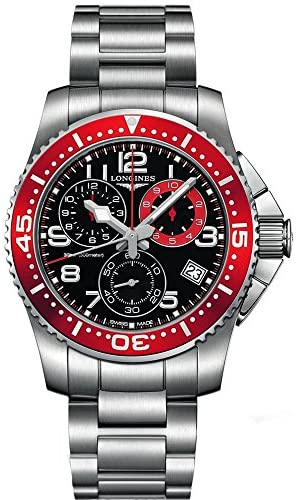 51liT7WtVqL. AC  - Longines HydroConquest Chronograph Black Dial Stainless Steel Mens Watch L36904596