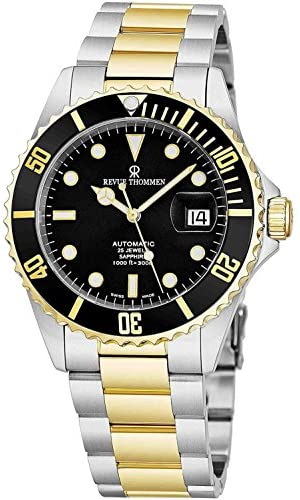 51lwAf1aWeL. AC  - Revue Thommen Mens Diver Watch Automatic Sapphire Crystal - Analog Black Face Two Tone Metal Band Stainless Steel Dive Watch Swiss Made - Scuba Diving Watches for Men Waterproof 300 Meters 17571.2147
