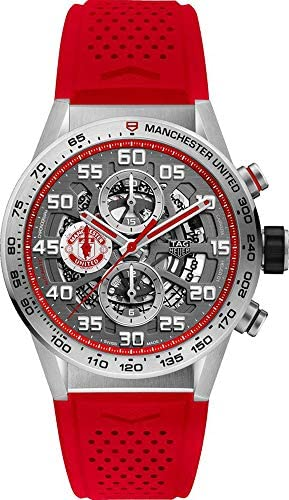 51moBDxmBlL. AC  - Tag Heuer Carrera Manchester United Special Edition Chronograph Automatic Black Gold Plated Dial Mens Watch CAR201M.FT6156