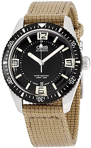 51r8BEe+aQL. AC  - Oris Men's 'Divers65' Swiss Automatic Stainless Steel and Canvas Casual Watch, Black (Model: 73377074064LS22)