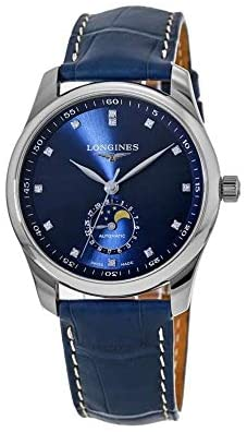41 mh6usKSL. AC  - The Longines Master Collection Moonphase Automatic Blue Dial with Diamonds, Blue Alligator Strap L2.909.4.97.0