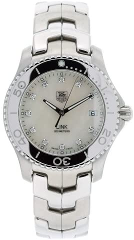 413k0INpywL. AC  - TAG Heuer Men's WJ1114.BA0570 Link Stainless Steel White Mother-of-pearl Diamond Dial Watch