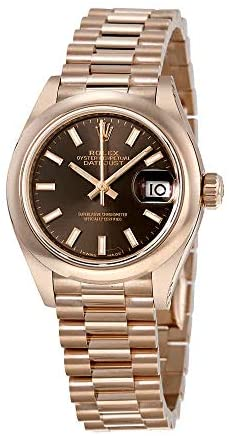 41LY4Q9lpyL. AC  - Rolex Lady-Datejust 28 Chocolate Dial 18K Everose Gold President Automatic Ladies Watch 279165CHSP