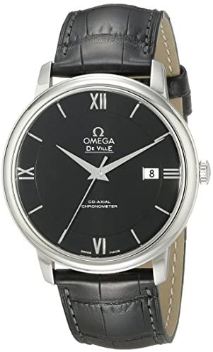 41bZA3cBpTL. AC  - Omega Men's 42413402001001 Stainlesss Steel Watch with Black Leather Band