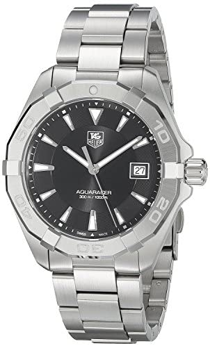 51OLUvYm6QL. AC  - TAG Heuer Men's Aquaracer Stainless Steel Quartz Watch with Stainless-Steel Strap, Silver, 20 (Model: WAY1110.BA0928)