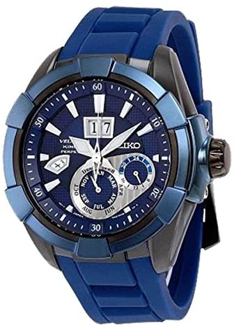 51y+EEFFuLL. AC  - Seiko Kinetic Sapphire Blue Dial Rubber Band Mens Watch SNP121 by Seiko Watches